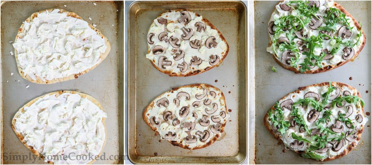 Steps to make Mushroom Arugula Flatbread Pizza, including adding mozzarella and ricotta to the flatbread, then topping it with sliced mushrooms and arugula. before baking.