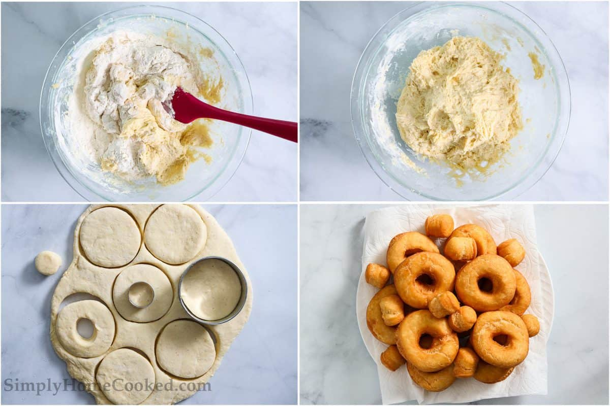 Steps for making Old Fashioned Sour Cream Donuts, including stirring the wet and dry ingredients together with the sour cream with a spatula, then rolling out the dough to be cut into donut shapes, and fried.