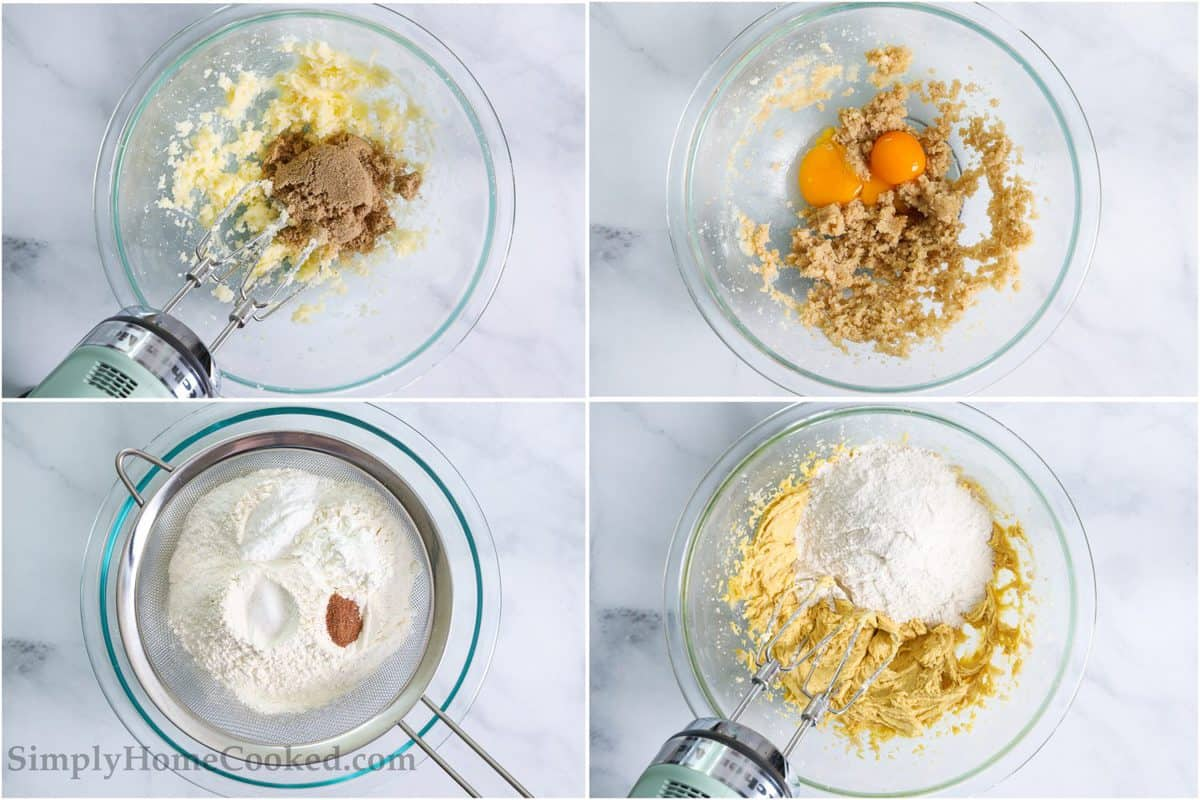 Steps for making Old Fashioned Sour Cream Donuts, including mixing the sugar and butter, then adding egg yolks and vanilla, sifting the dry ingredients, and finally mixing them in.