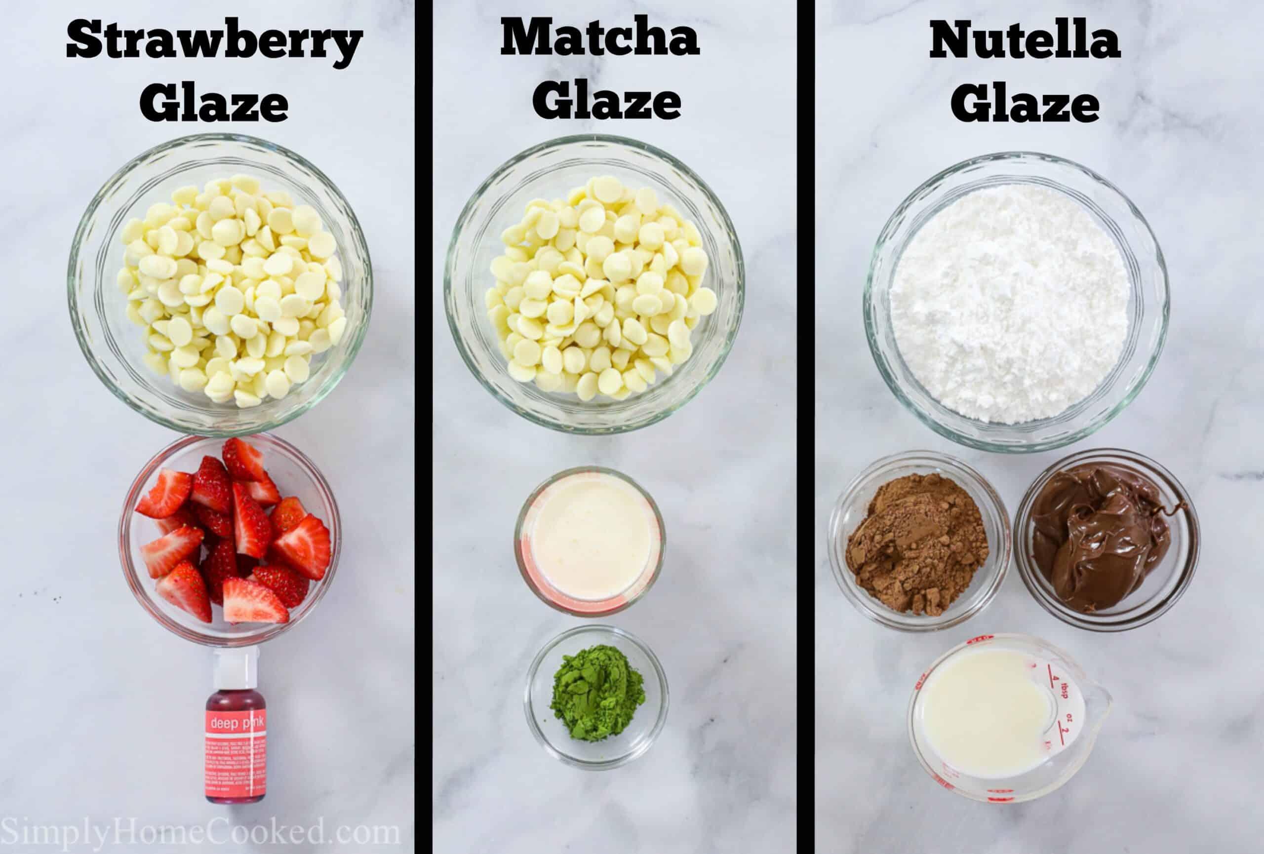 Ingredients for Best Mochi Donut glazes, Strawberry, Matcha, and Nutella.
