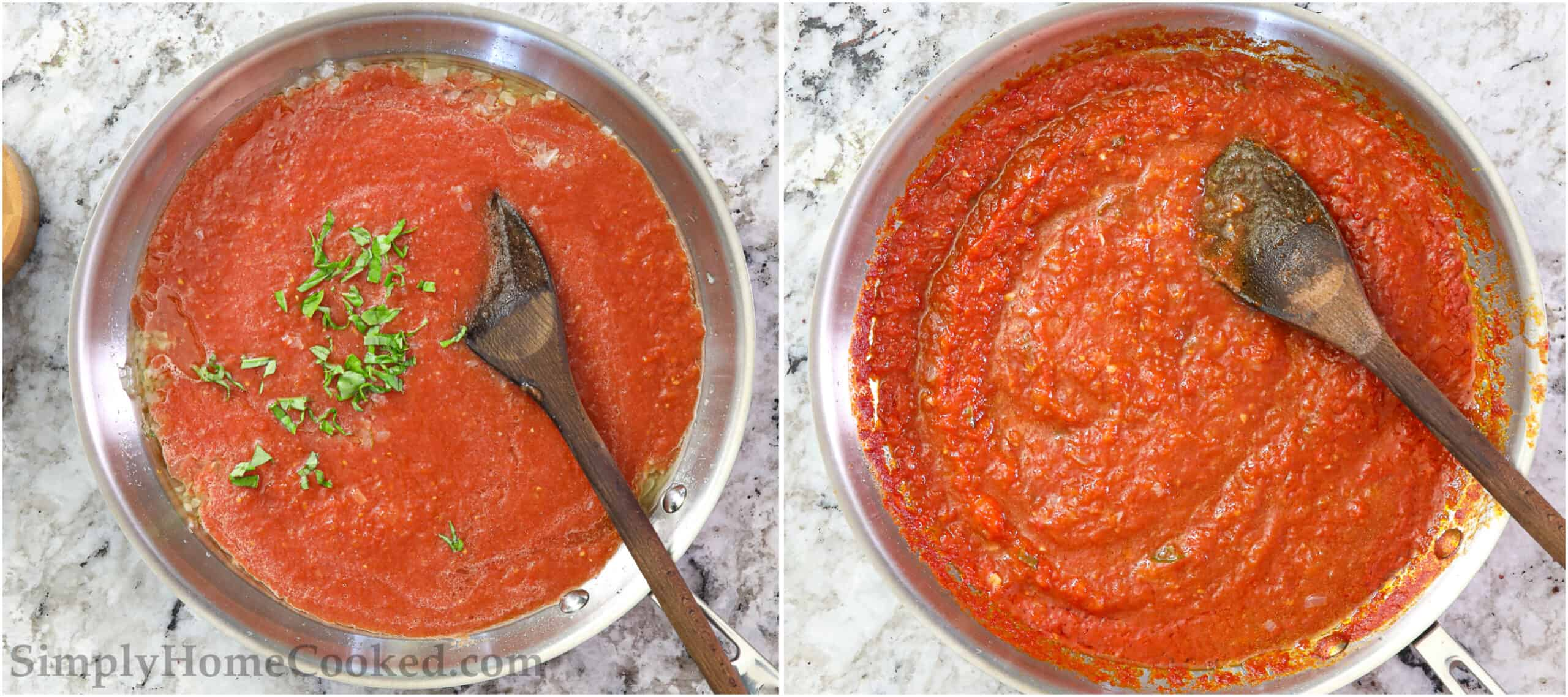 Steps to make Pasta Pomodoro sauce, including stirring in salt, sugar, and basil to the sauce with a wooden spoon and cooking.