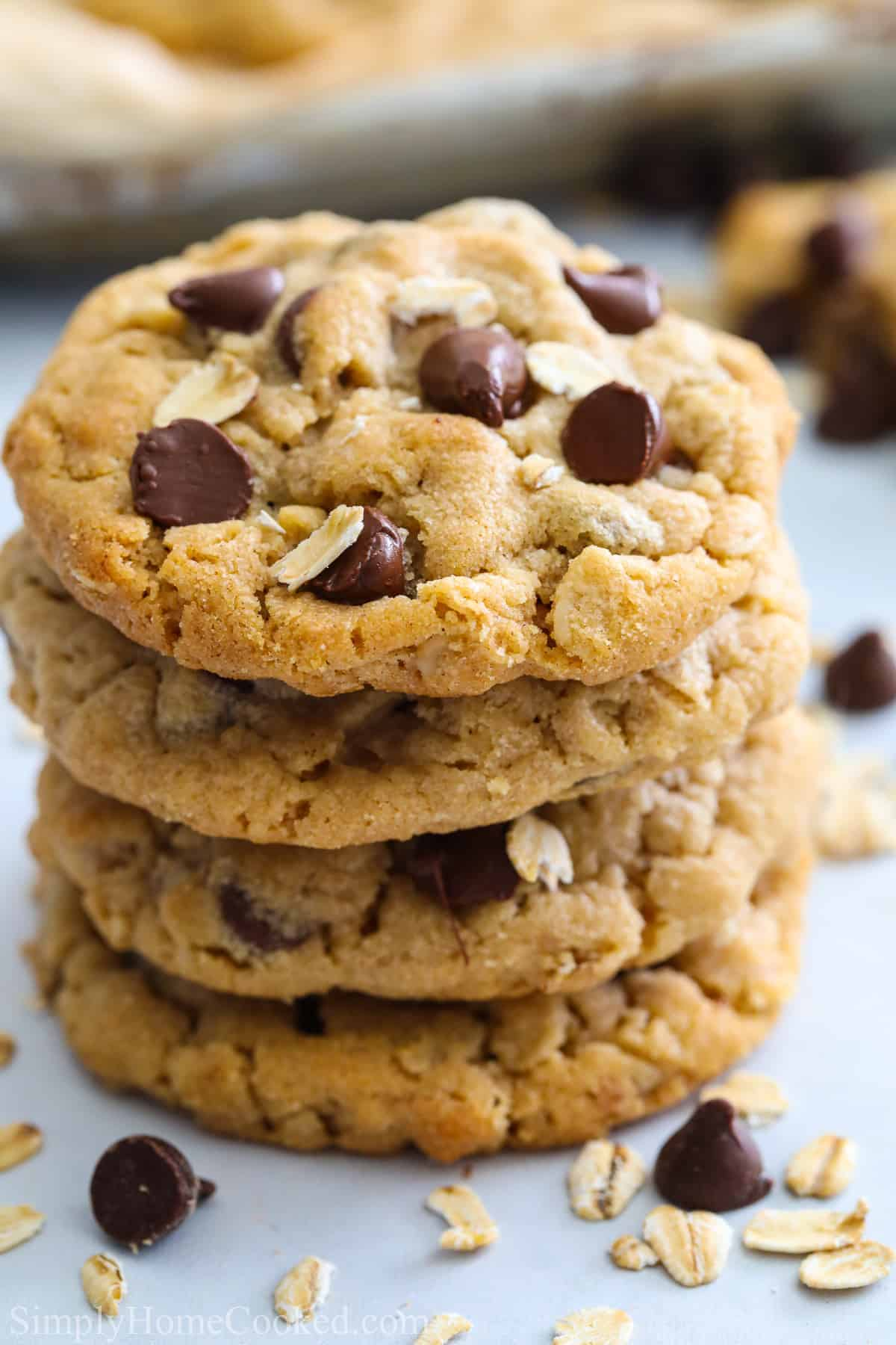 Stack of Chewy Peanut Butter Oatmeal Cookies with chocolate chips.
