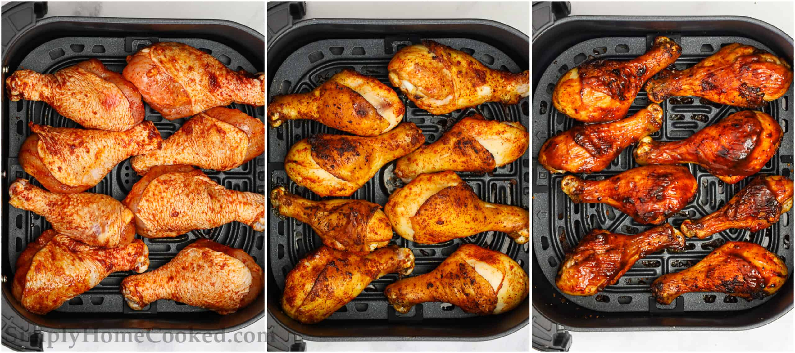 Steps to cook BBQ Air Fryer Chicken Legs, including placing the legs in the air fryer basket and cooking twice before smothering in BBQ sauce and cooking one final time.