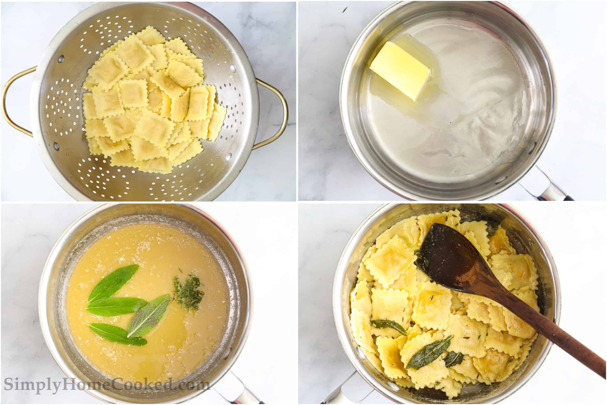Steps to make Butternut Squash Ravioli, including cooking and draining the ravioli, browning the butter, then adding the sage and thyme, and stirring everything together with a wooden spoon.