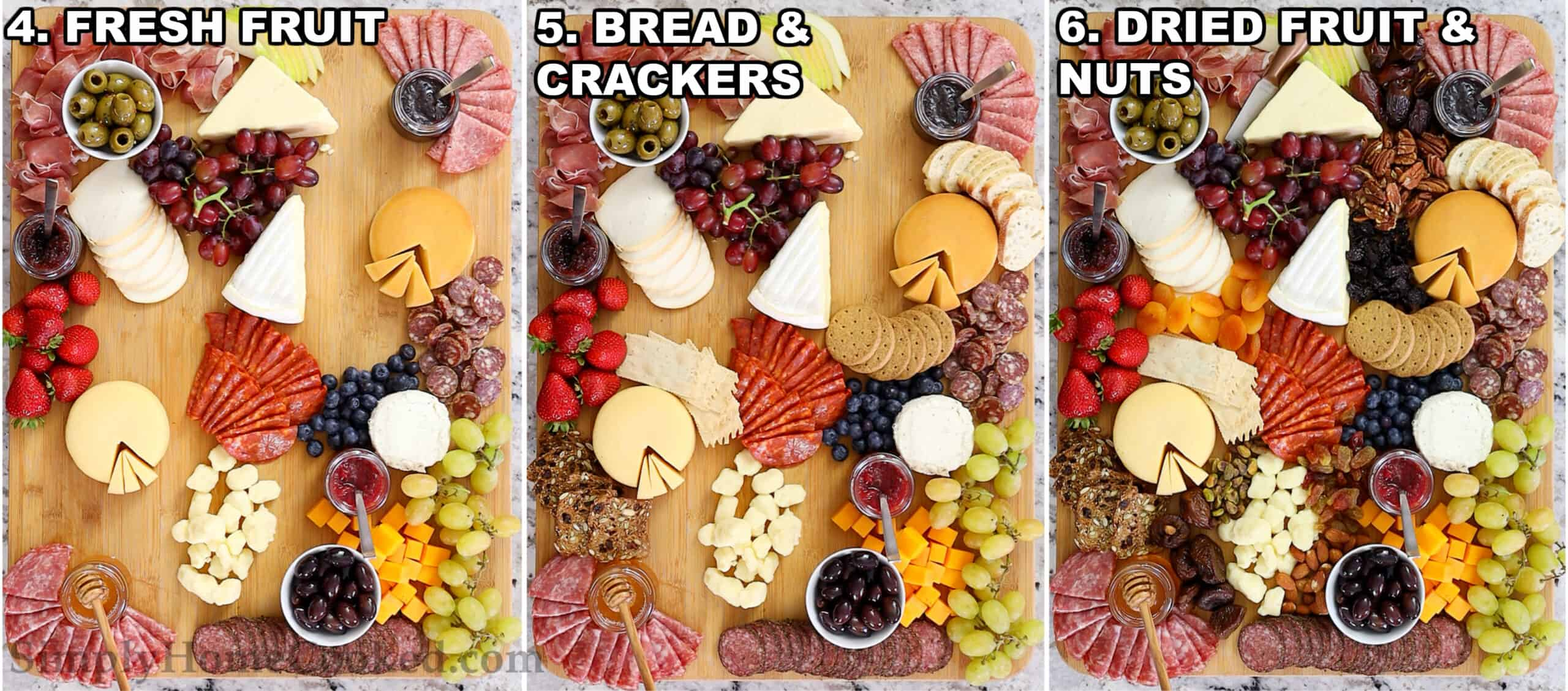 Steps to make the Ultimate Charcuterie Board, including assembling fresh fruit, breads and crackers, and dried fruits and nuts on a wooden board.