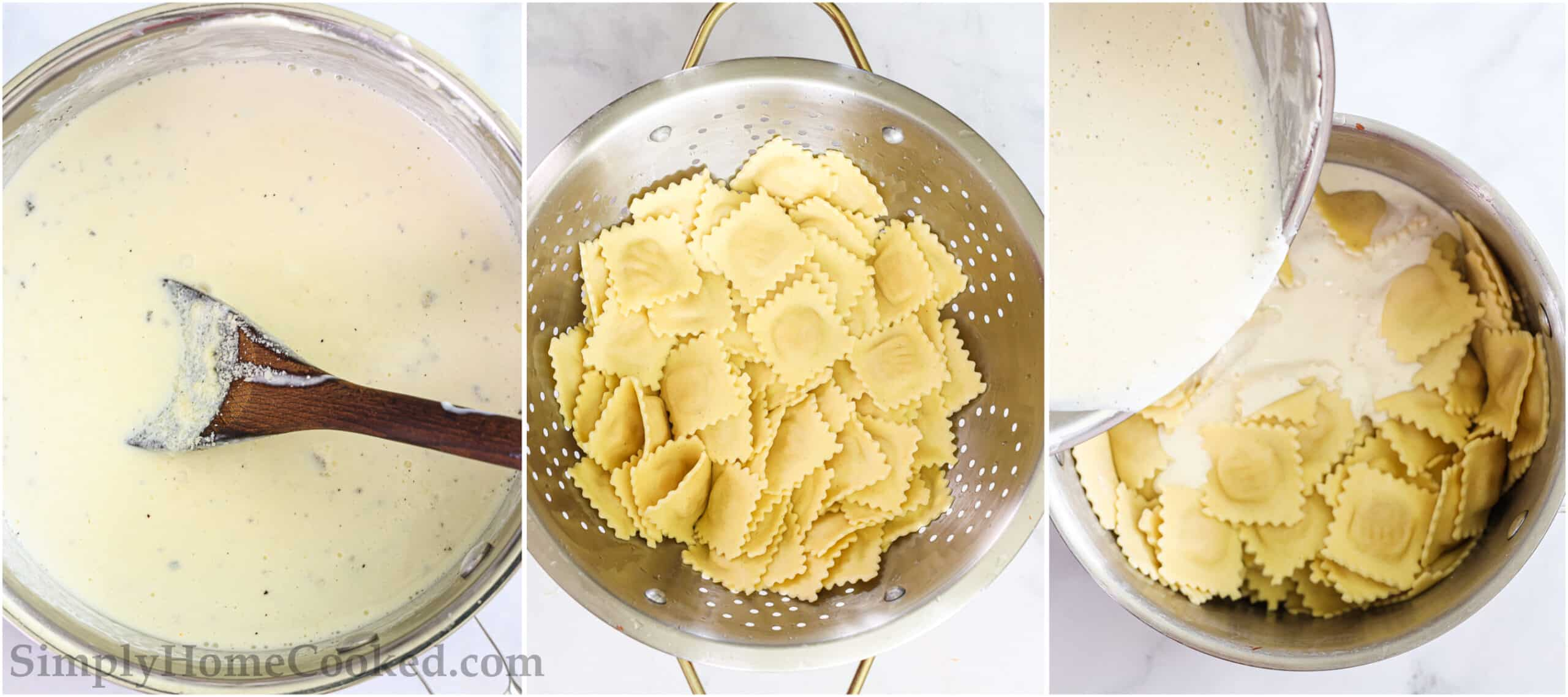 Steps to make Easy Four Cheese Ravioli, including simmering the sauce, cooking and draining the ravioli, and then adding the sauce to the ravioli.
