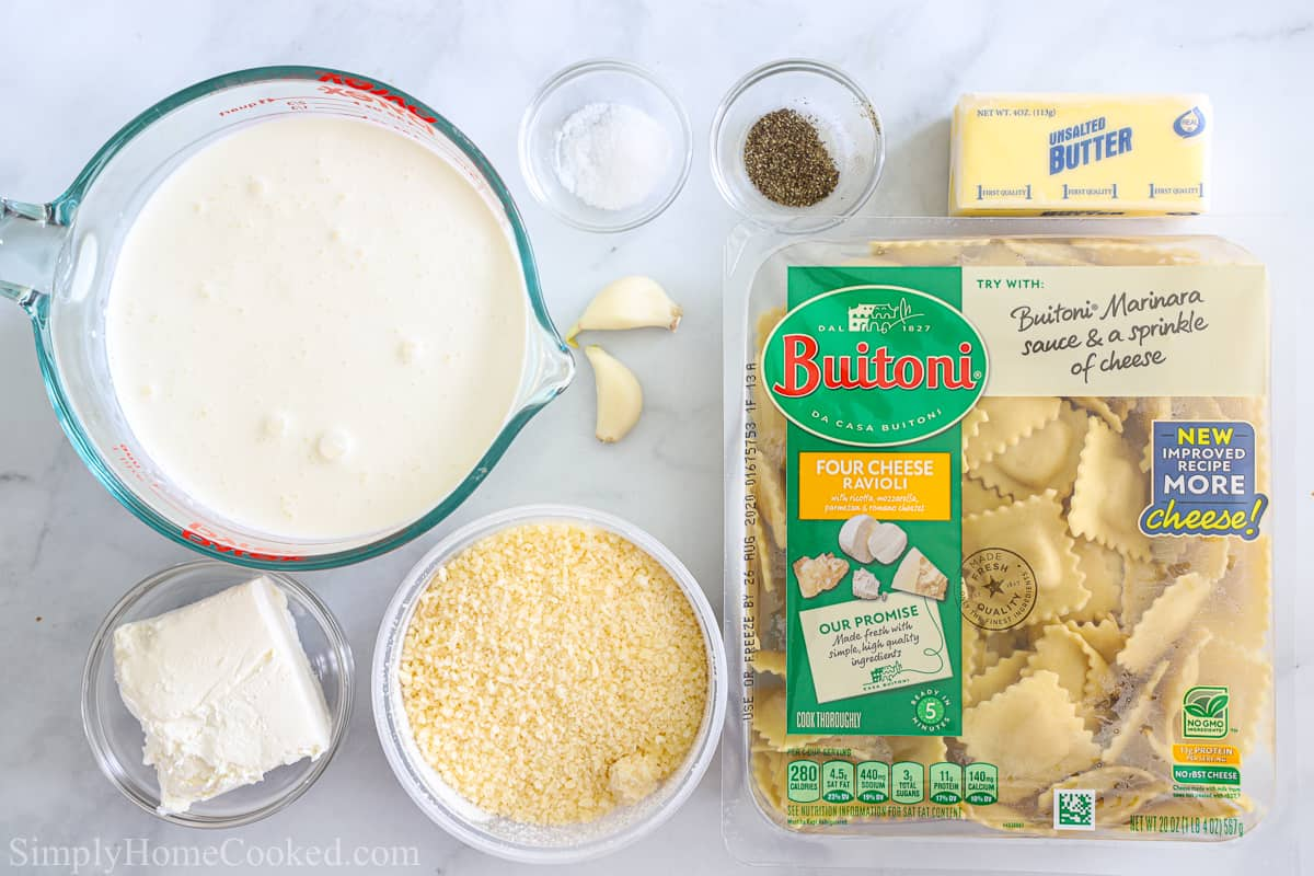 Ingredients for Easy Four Cheese Ravioli, including heavy cream, cream cheese, butter, garlic cloves, Parmesan cheese, salt, pepper, and ravioli on a white background.