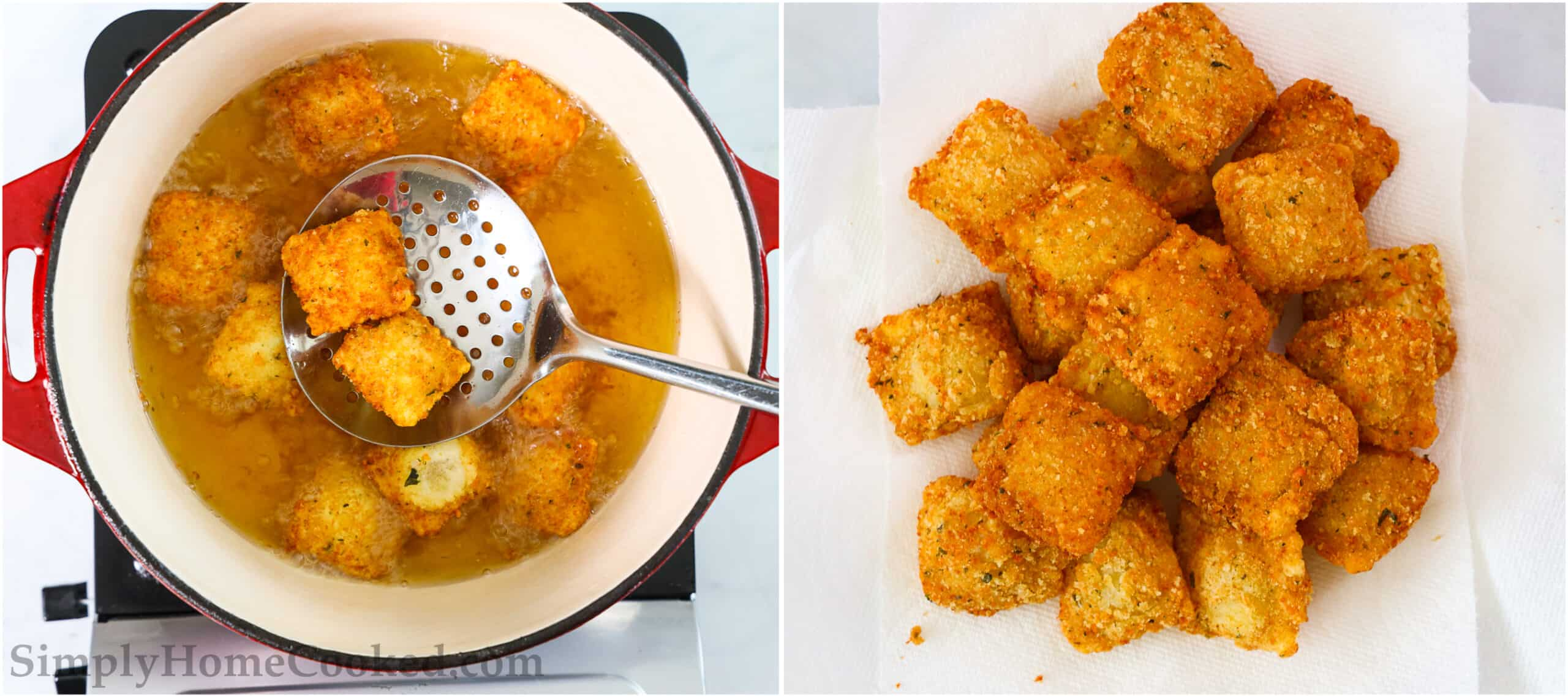 Steps to make Crispy Fried Ravioli, including removing the ravioli from the oil with a slotted spoon and placing them on a plate with paper towels to absorb oil.