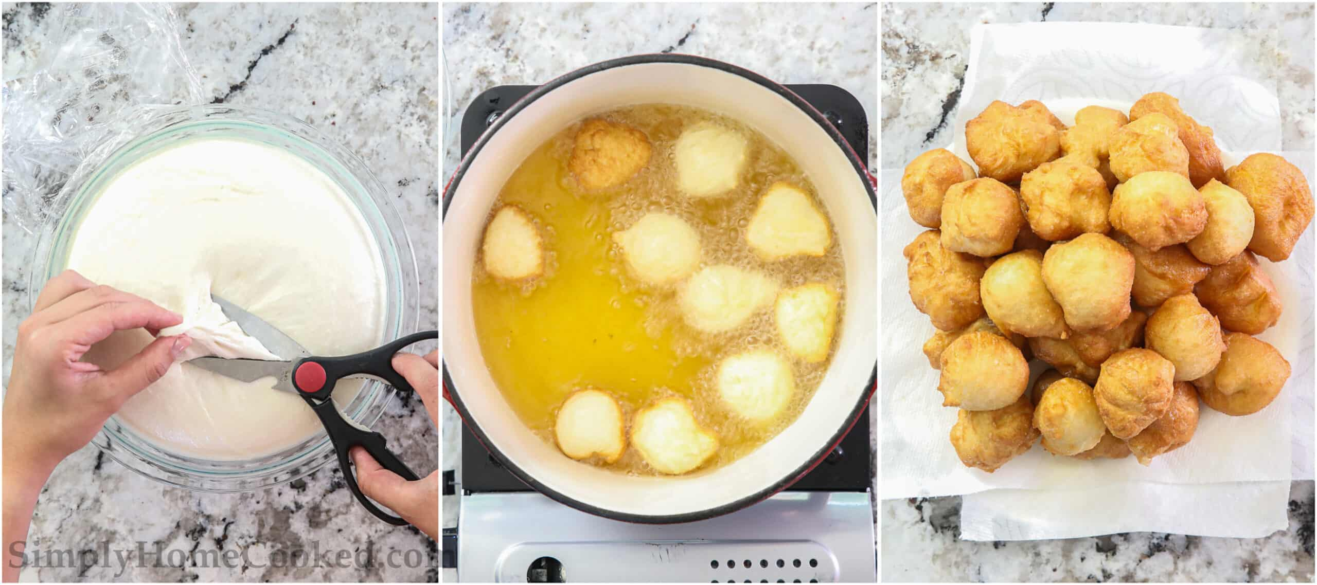 Steps to make Zeppoles - Italian donuts - including snipping the dough into balls and then frying them, before allowing them to cool on a paper towel lined plate.