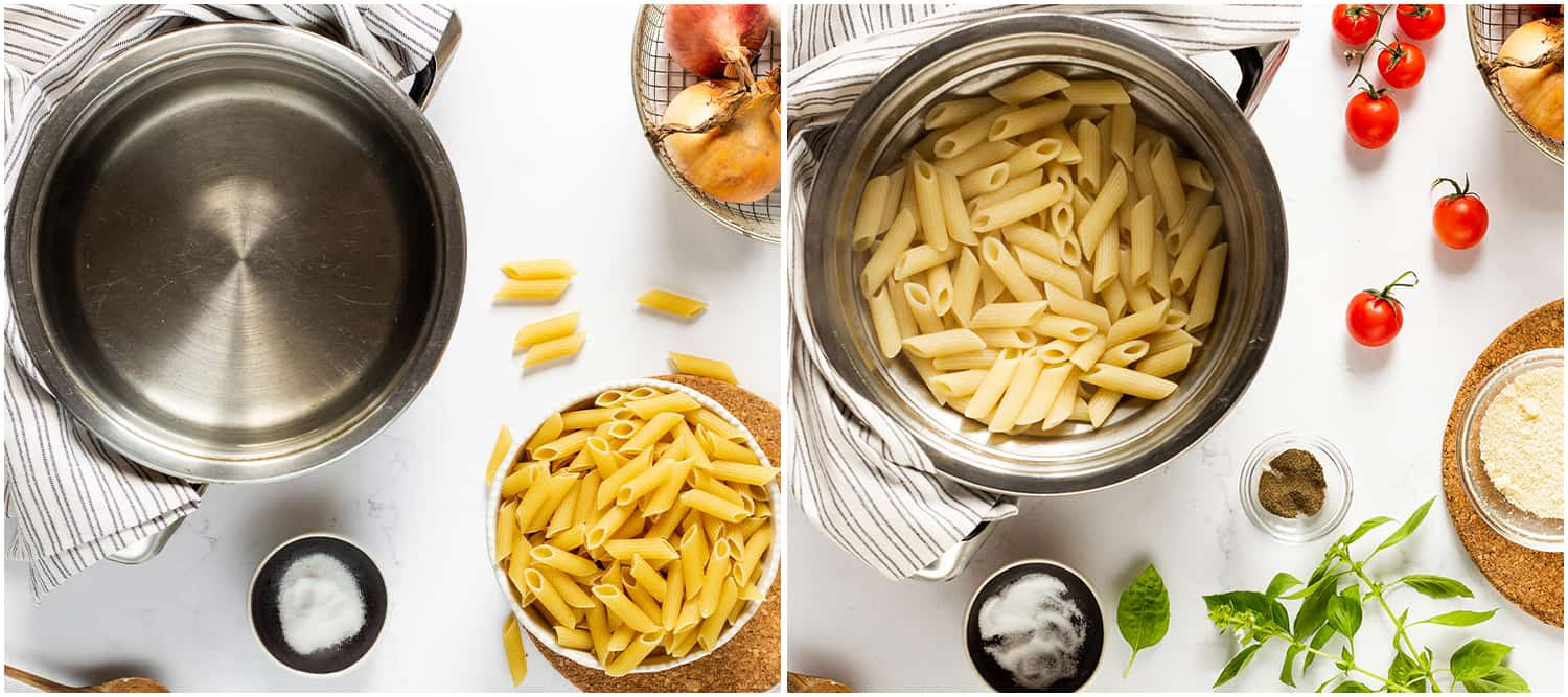Steps to make Penne Alla Vodka, including cooking the penne pasta in a pot and then draining it, with more ingredients nearby.