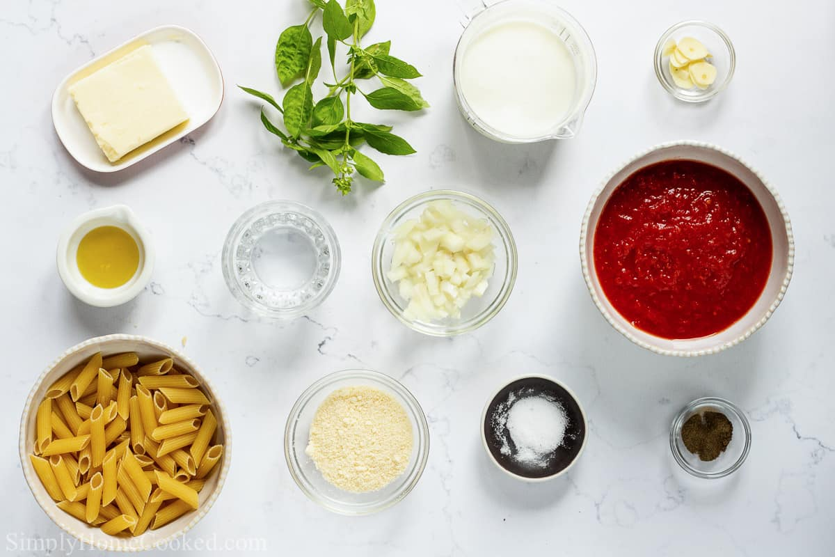 Ingredients for Penne Alla Vodka, including penne pasta, butter, olive oil, garlic, onion, pureed tomatoes, basil leaves, vodka, salt, pepper, Parmesan cheese, and heavy cream.