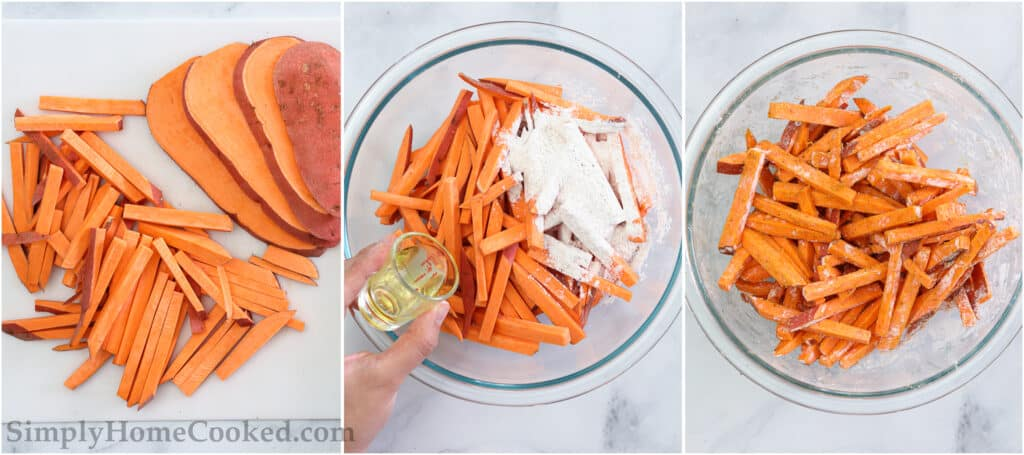 Steps to make the BEST Air Fryer Sweet Potato Fries, including cutting the sweet potato and then tossing it with oil and seasonings.