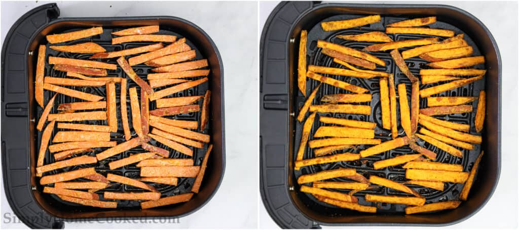 Steps to make the BEST Air Fryer Sweet Potato Fries, including laying the fries in a single layer in the air fryer basket and then cooking them until they are browned and crispy.
