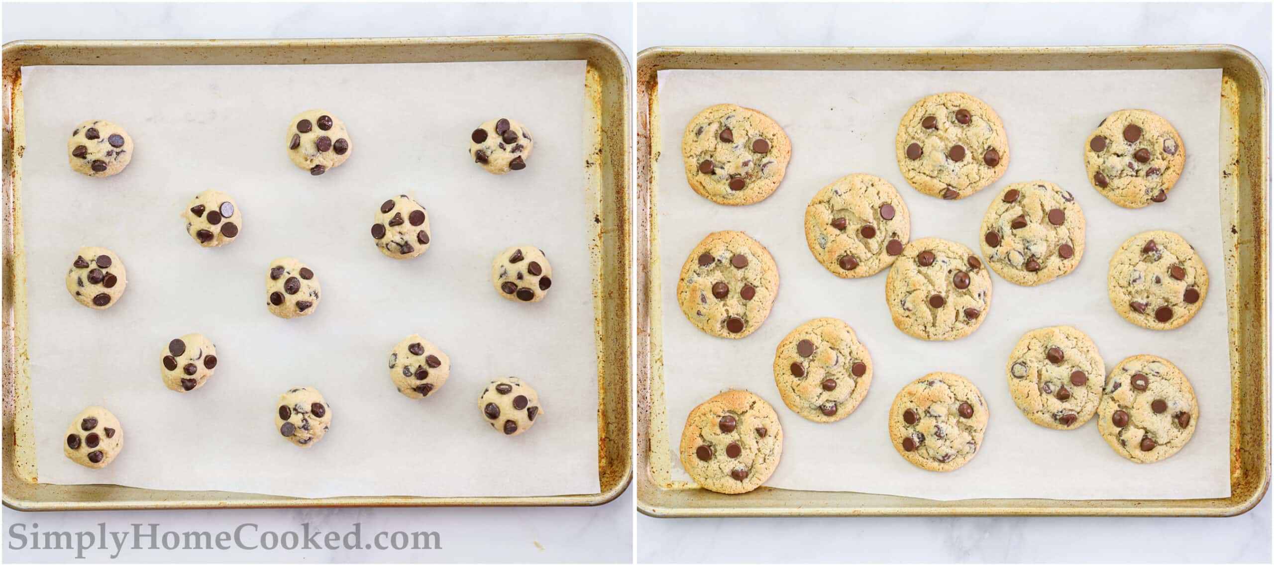 Steps to make Almond Flour Chocolate Chip Cookies, including rolling scoops of dough out, adding chocolate chips to the top of each, and then baking them on a sheet pan.
