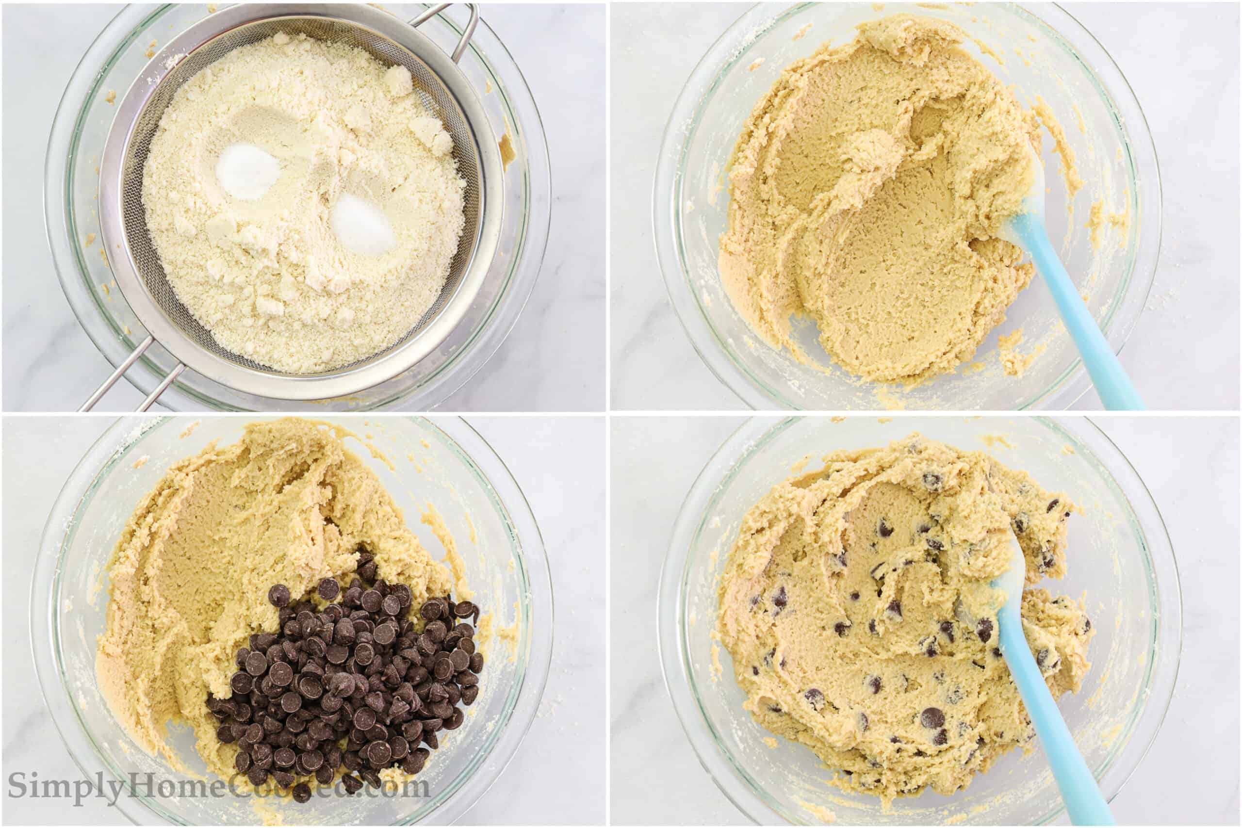 Steps to make Almond Flour Chocolate Chip Cookies, including sifting in the almond flour, salt, and baking soda, then mixing with a spatula before adding the chocolate chips and mixing again.