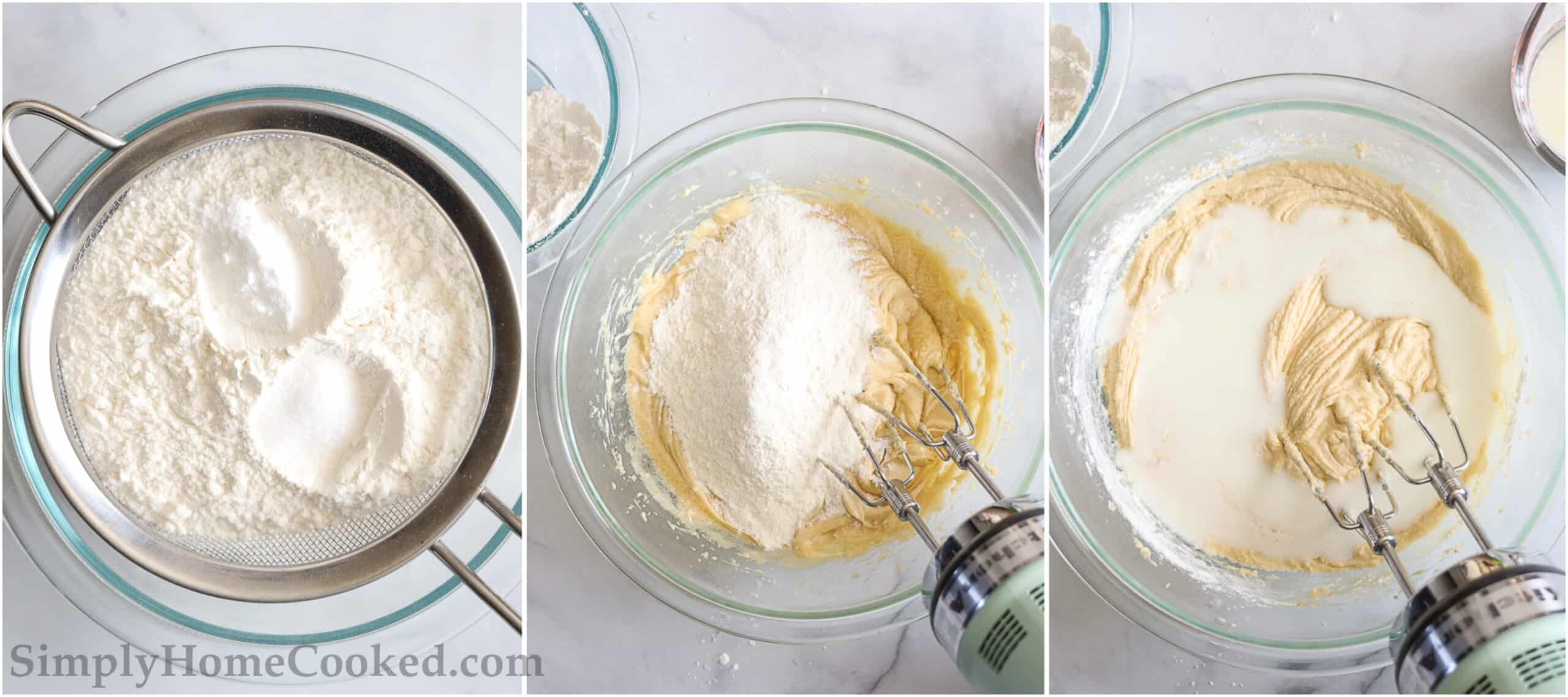 Steps to make Apple Fritter Bread, including sifting the fry ingredients and then mixing them into the batter with the buttermilk.