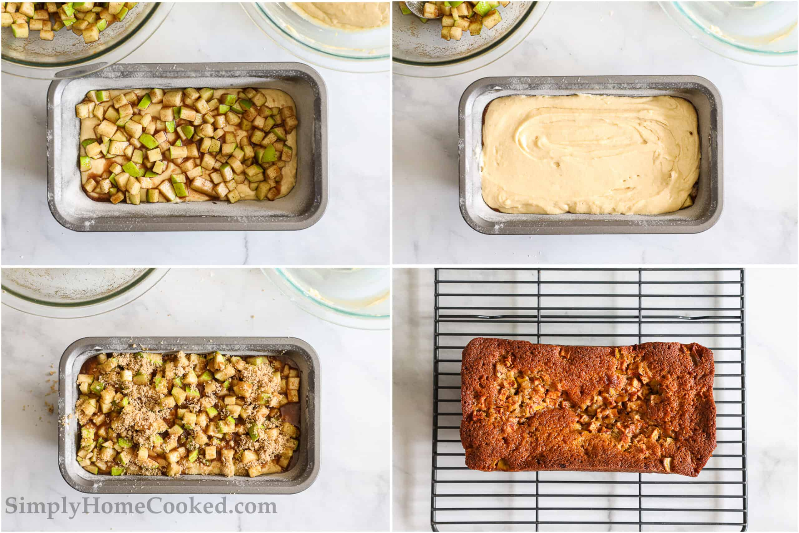 Steps to make Apple Fritter Bread, including layering the batter and apple mixture before topping with brown sugar and baking.