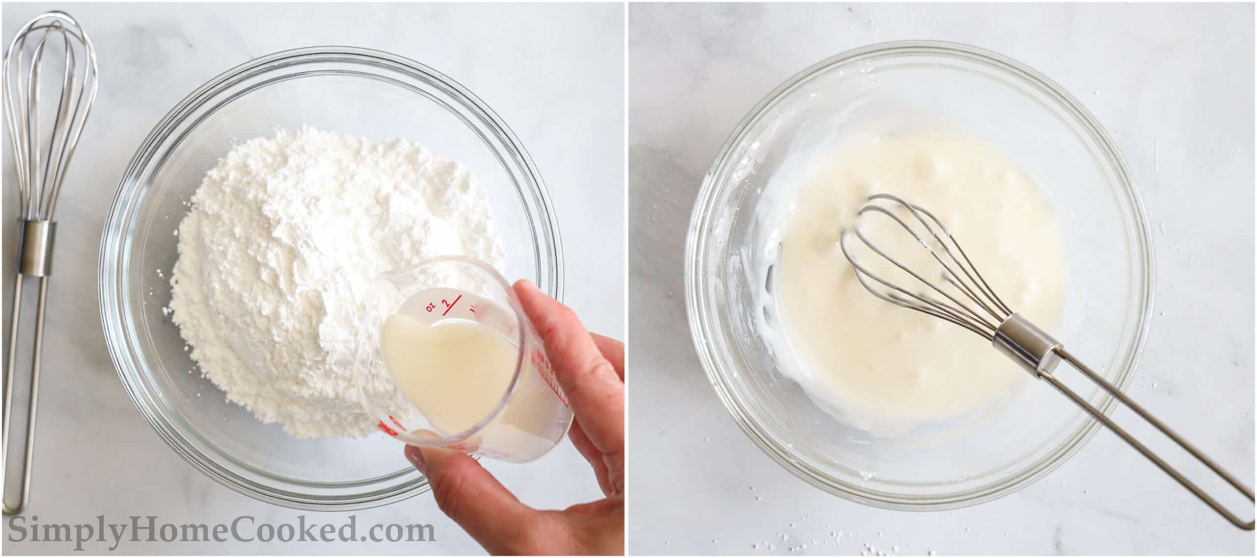 Steps to make glaze for Apple Fritter Bread, including whisking the milk and powdered sugar together in a clear bowl.