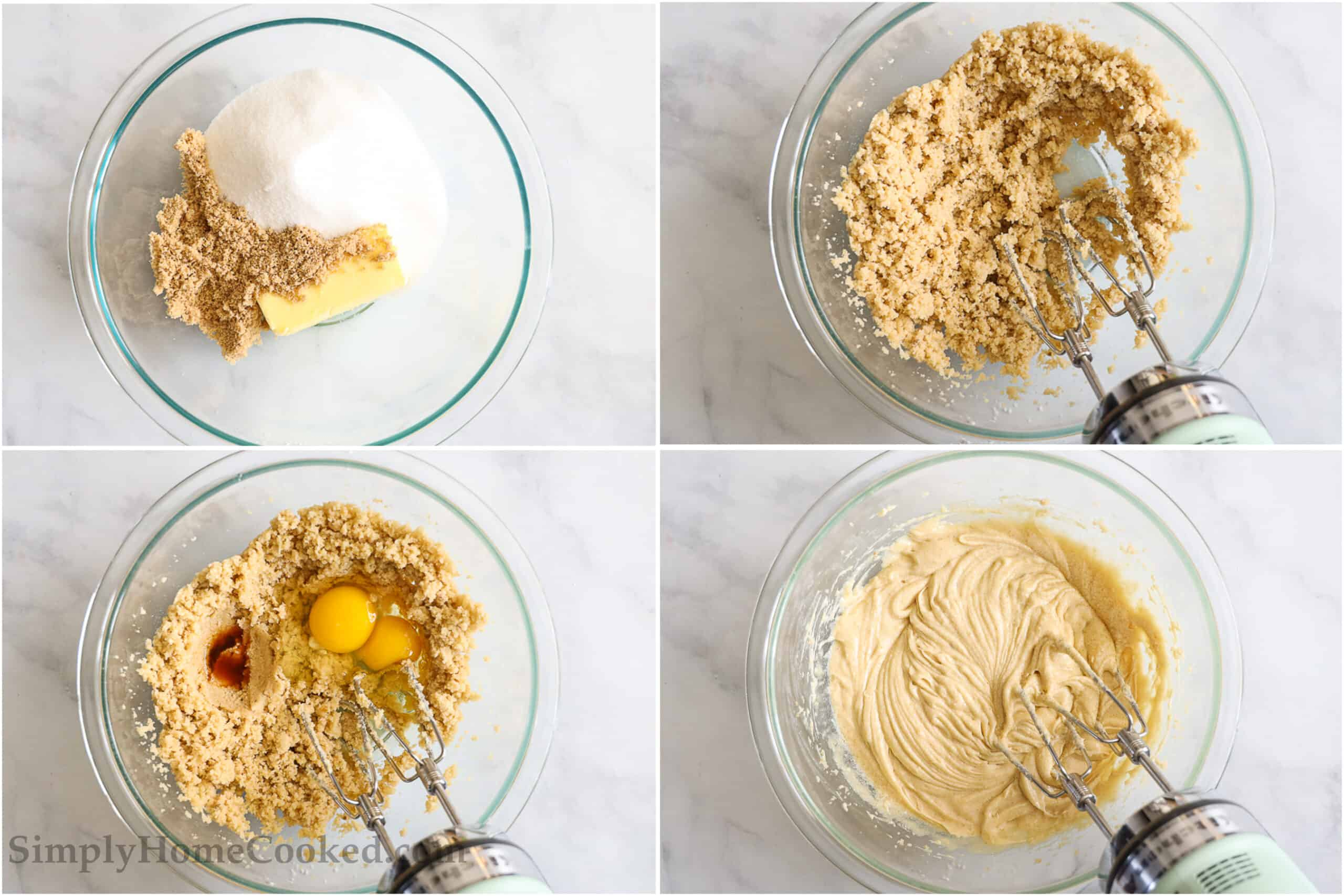 Steps to make Apple Fritter Bread, including mixing the butter and sugars, then beating in the eggs and vanilla with an electric hand mixer.