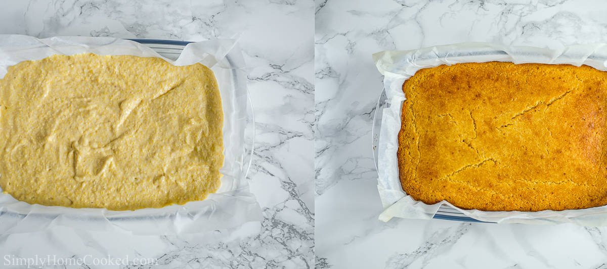 Steps to make Moist Buttermilk Cornbread, including pouring the batter into a pan and then baking it to golden brown.