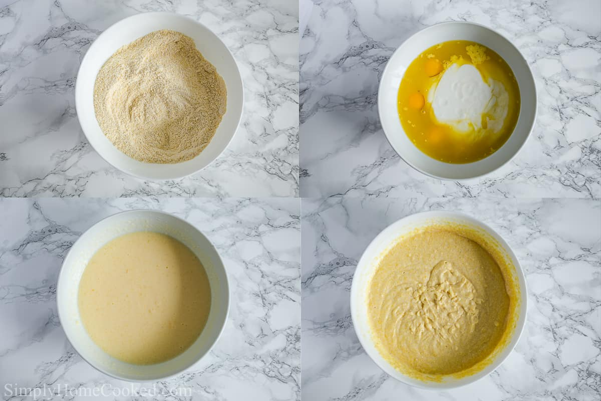 Steps to make Moist Buttermilk Cornbread, including whisking the dry ingredients and then the wet before combining them together.