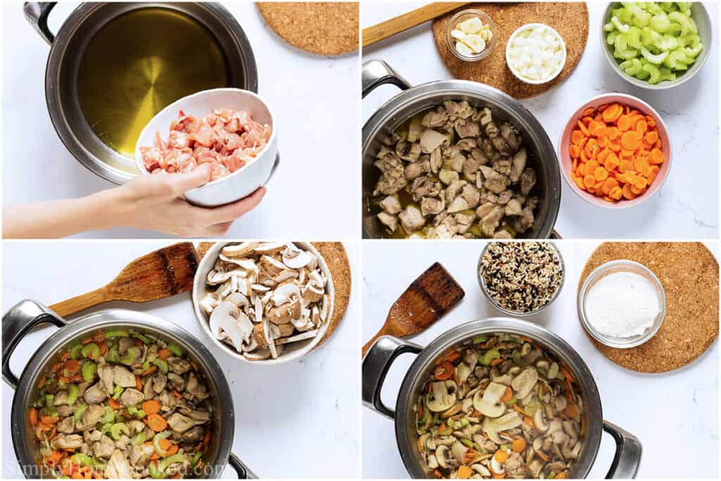 Steps to make Creamy Chicken and Wild Rice Soup, including cooking the chicken in oil in a pot and then the vegetables, and finally the wild rice and flour are added.