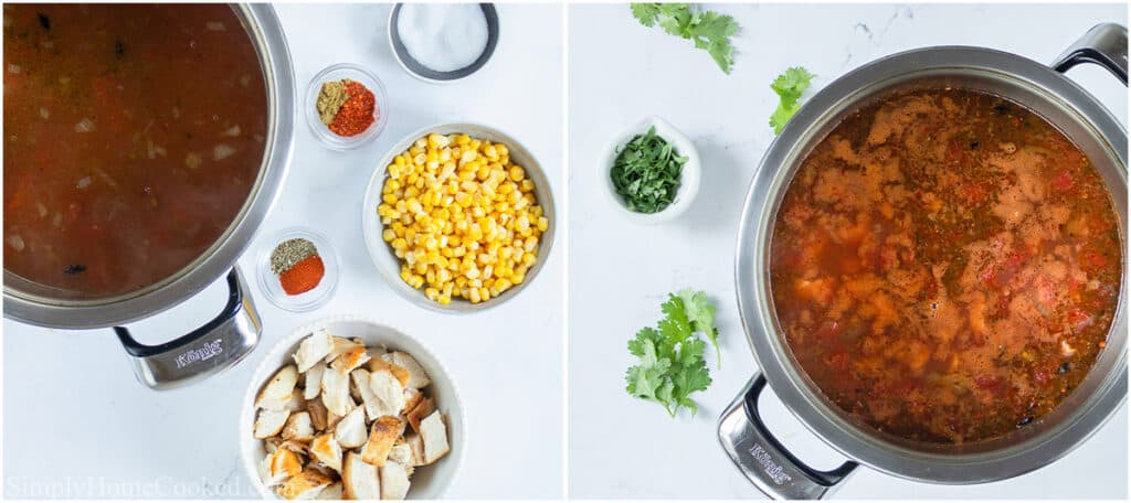 Steps to make Chicken Tortilla Soup, including adding the seasoning, cubed chicken, and corn, then bringing it to a boil and adding fresh cilantro.