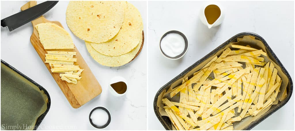 Steps to make Chicken Tortilla Soup, including cutting the tortilla into strips and adding salt and oil to them before baking.