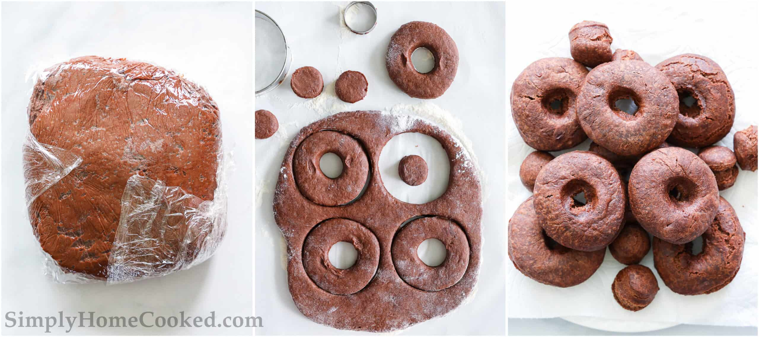 Steps to make Chocolate Donuts, including chilling the dough and cutting out the donuts, then frying them.