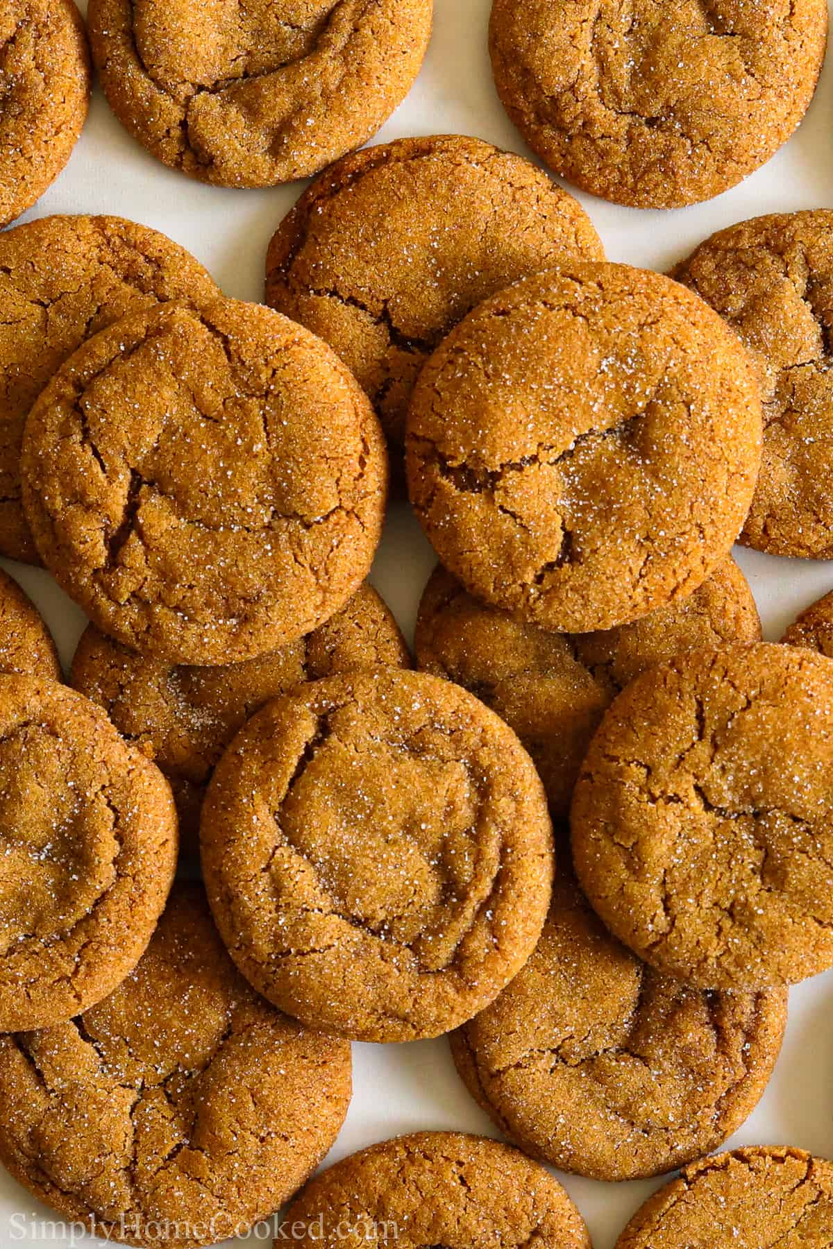Chewy Ginger Molasses Cookies piled together.