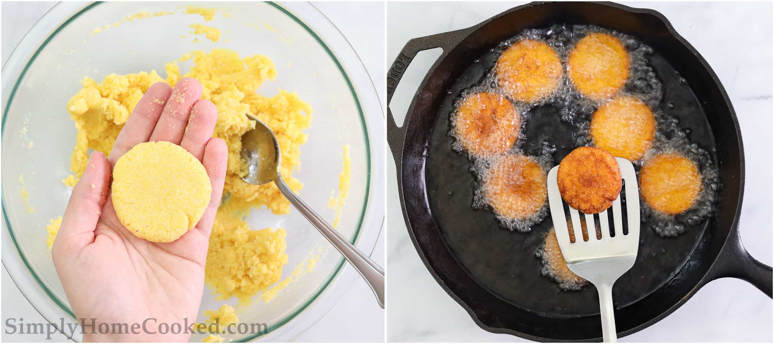 Steps to make Southern Hot Water Cornbread, including forming the batter into patties and then frying them to a golden brown color.