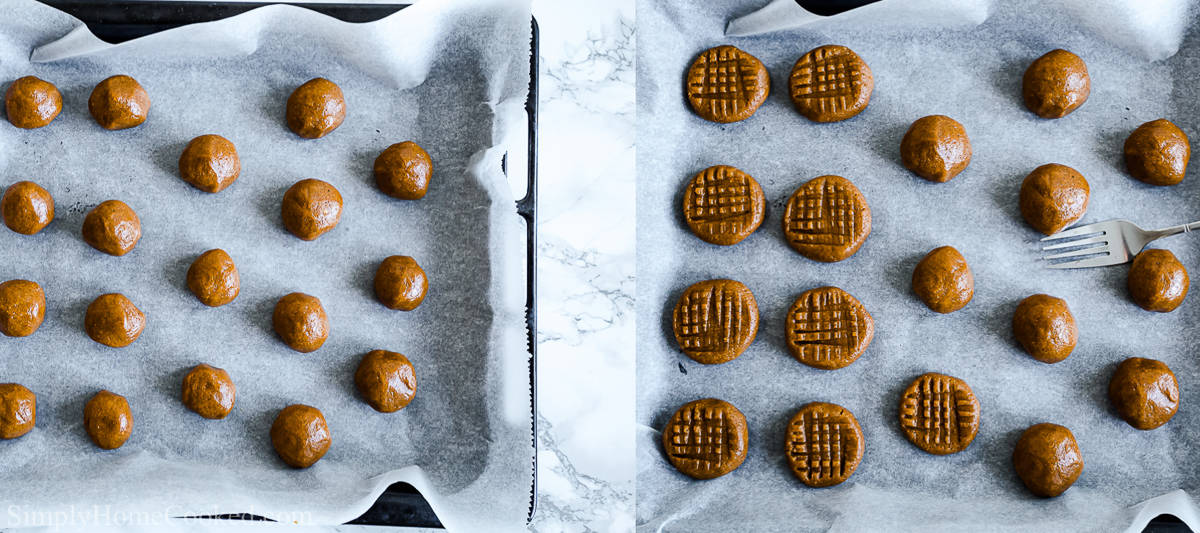 Steps to make Easy Keto Peanut Butter Cookies, including rolling the dough into balls and then making hashtag marks on the top of them with a fork before baking.