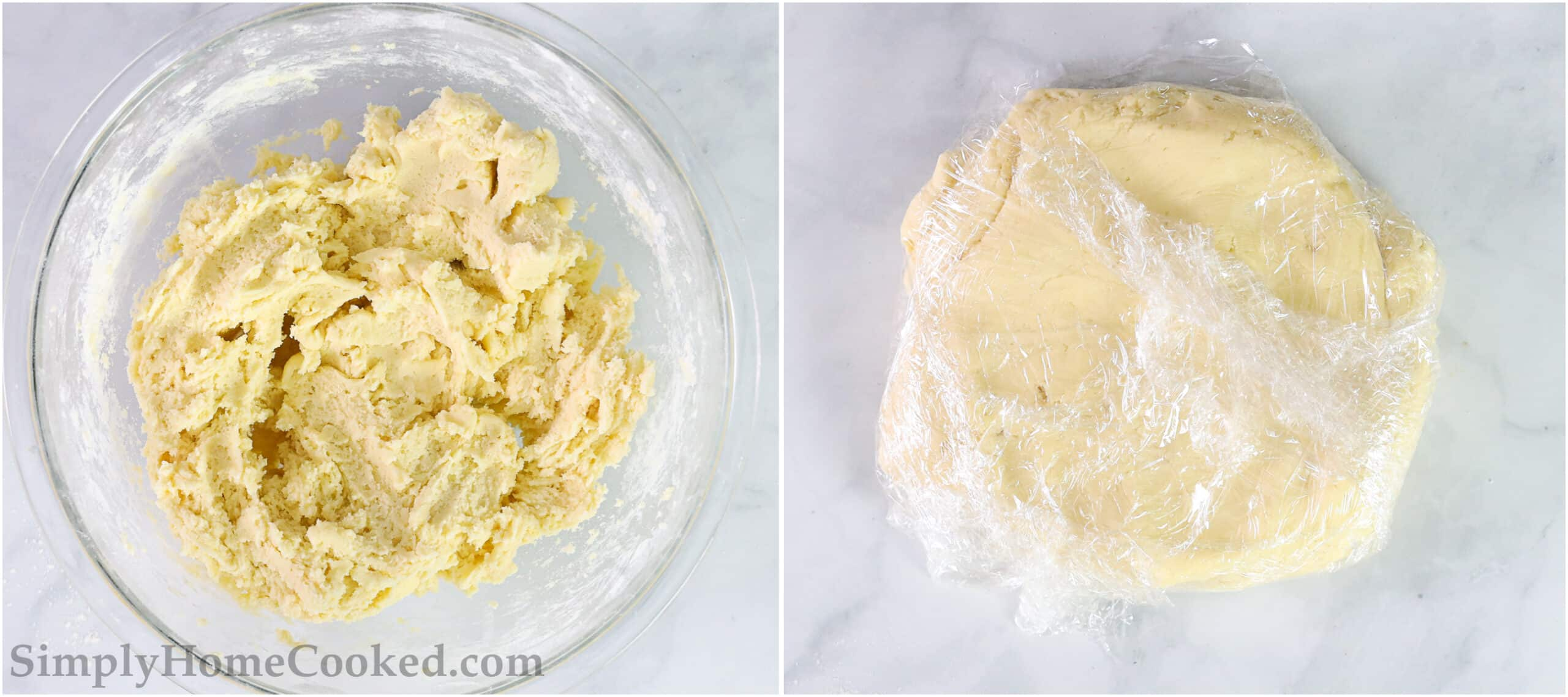 Steps to make Lofthouse Frosted Sugar Cookies, including wrapping the dough in plastic wrap and chilling in the fridge.