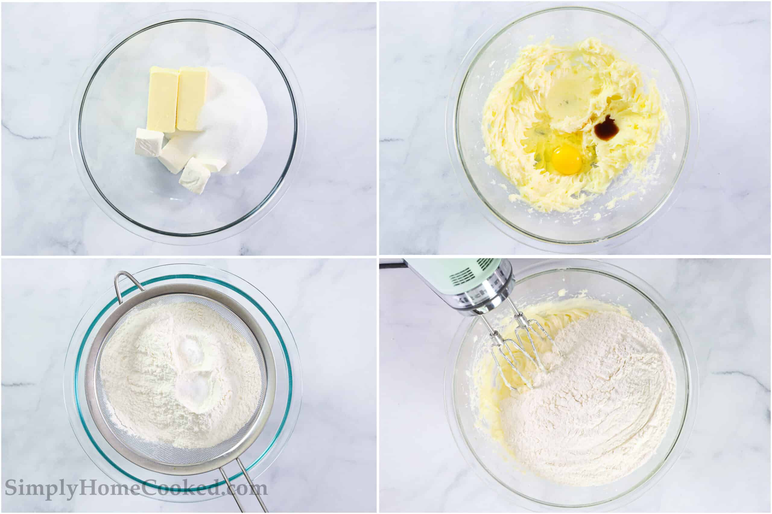 Steps to make Lofthouse Frosted Sugar Cookies, including beat together the wet ingredients and then sifting in and mixing the dry ingredients into the cookie dough.