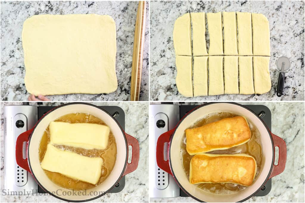 Steps to make Maple Donut Bars from Scratch, including rolling out the dough, cutting it into bars, then frying each bar on both sides to golden brown.