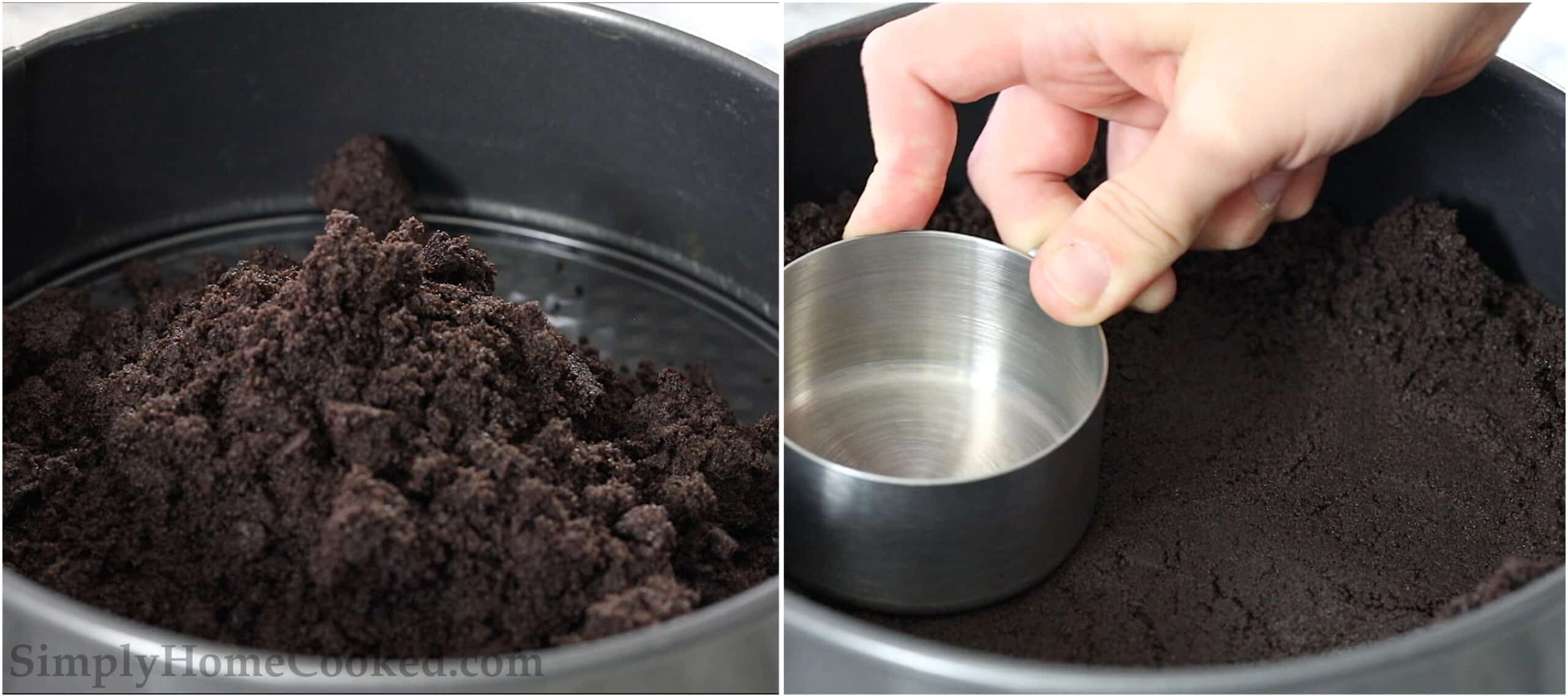 Steps to make Easy Oreo Cheesecake, including adding the cookie crumbs and butter to a springform pan and then pressing them down to the bottom and sides with a measuring cup to form the crust.