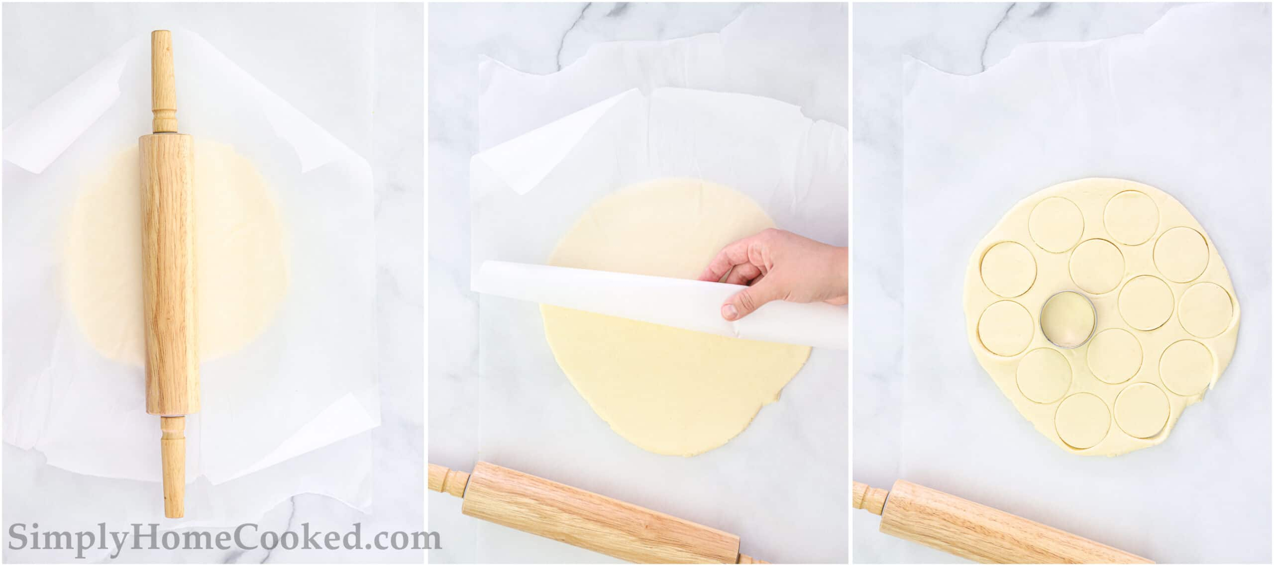 Steps to make Classic Shortbread Cookies, including rolling out the dough between parchment paper sheets, then peeling it off to cut out shapes.