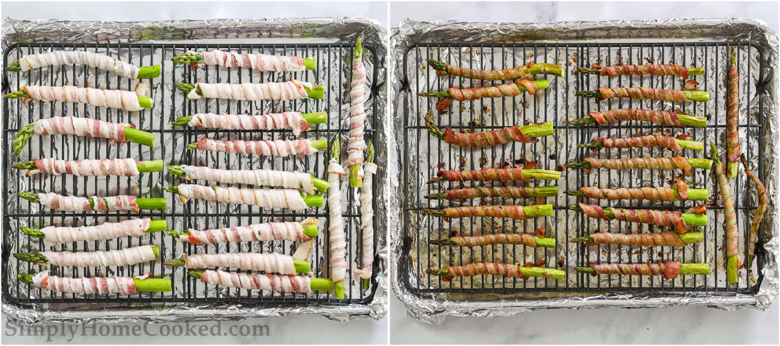 Bacon Wrapped Asparagus on a wire rack and foil lined baking sheet before and after cooking.