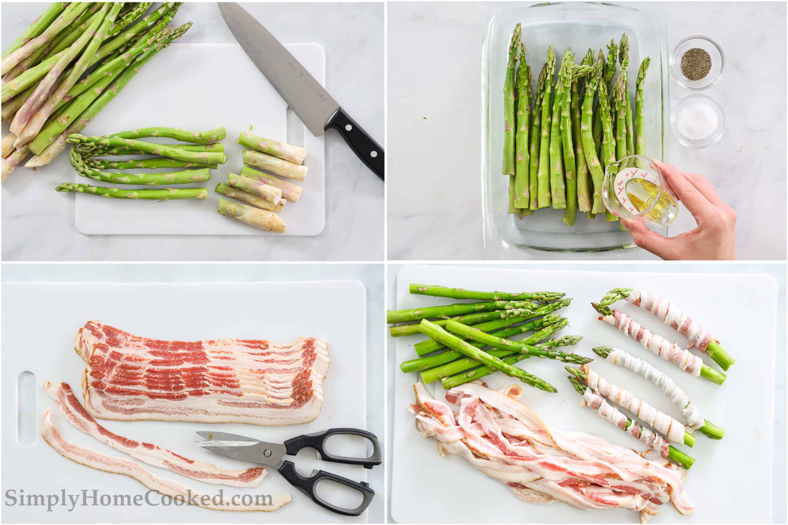 Steps to make Bacon Wrapped Asparagus, including trimming the spears, coating with oil, salt, and pepper, and then cutting the bacon lengthwise with kitchen shears before wrapping it around the asparagus tightly.