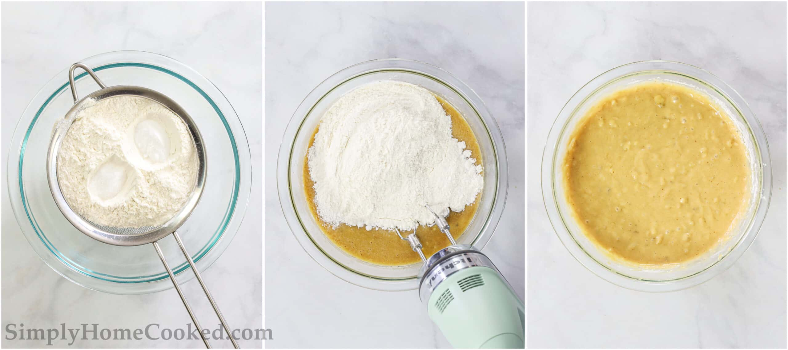 Steps to make Banana Chocolate Chip Muffins, including sifting the dry ingredients into the batter and mixing with a hand mixer.