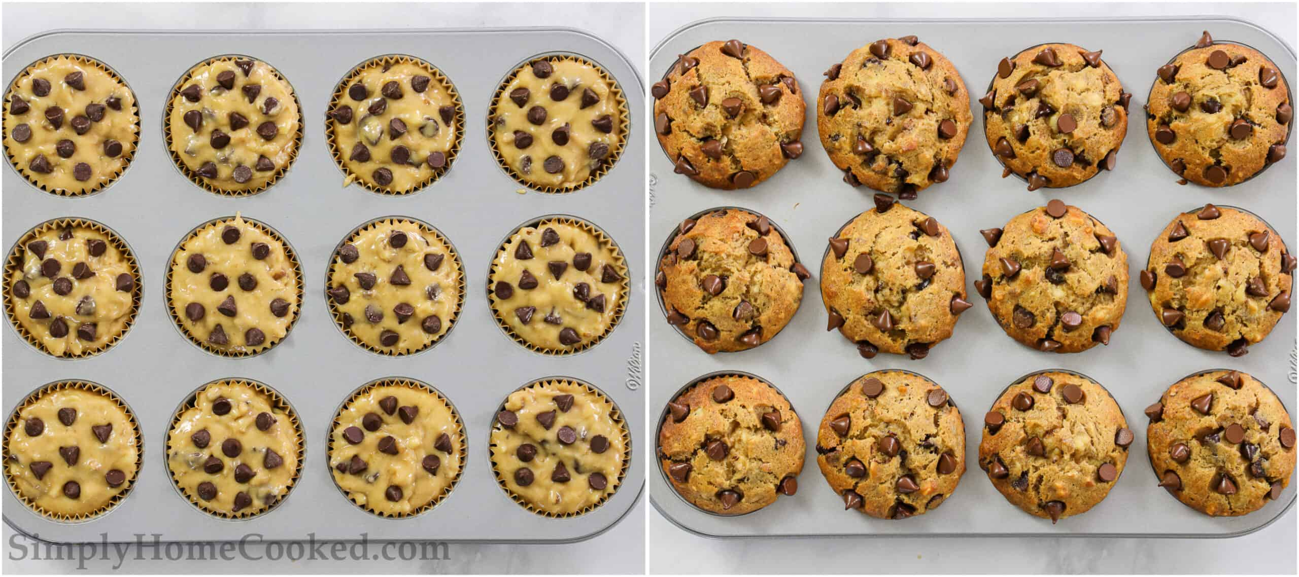 Steps to make Banana Chocolate Chip Muffins, including pouring the batter into muffin tins and baking them.