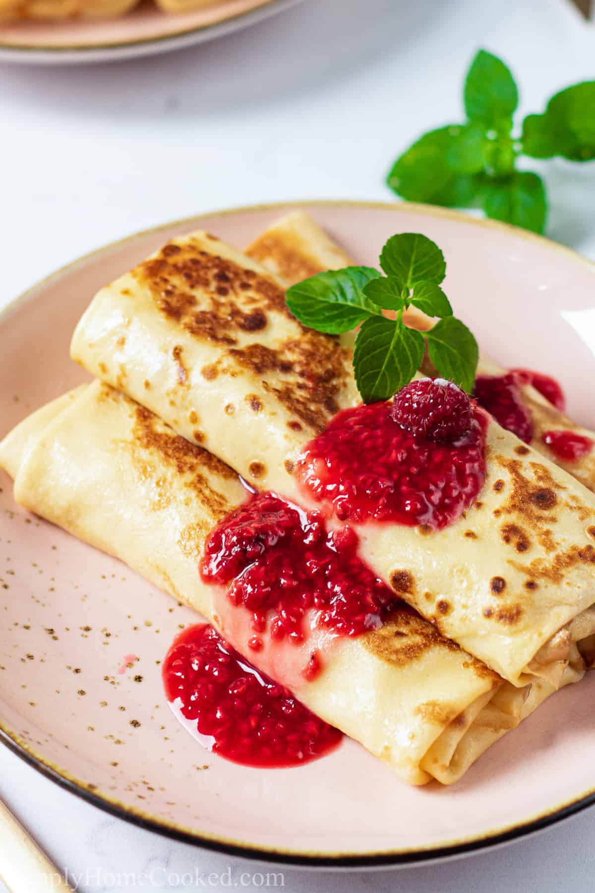 Close up of Cheese Blintz on a plate with berry sauce and garnished on top.