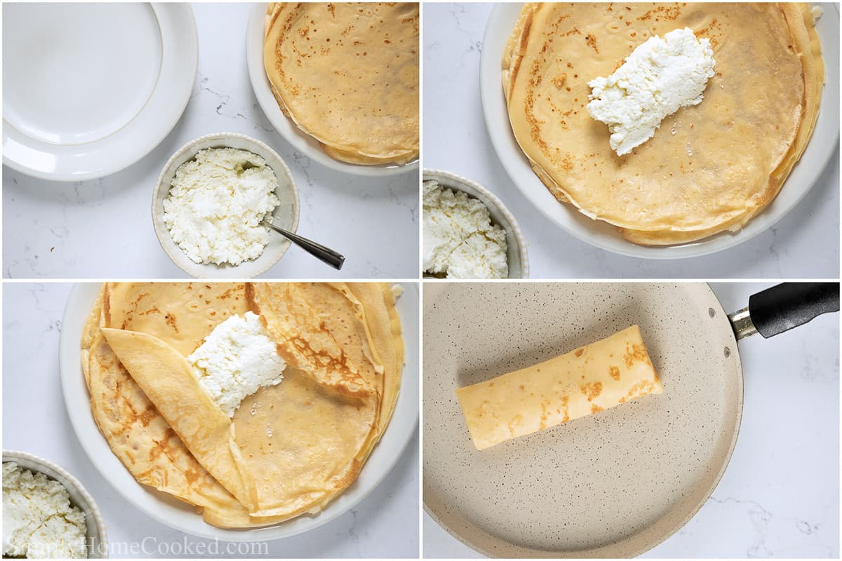 Steps to fill a Cheese Blintz, including laying a spoonful of sweet cheese filling in the blintz, and then rolling it up like a burrito.