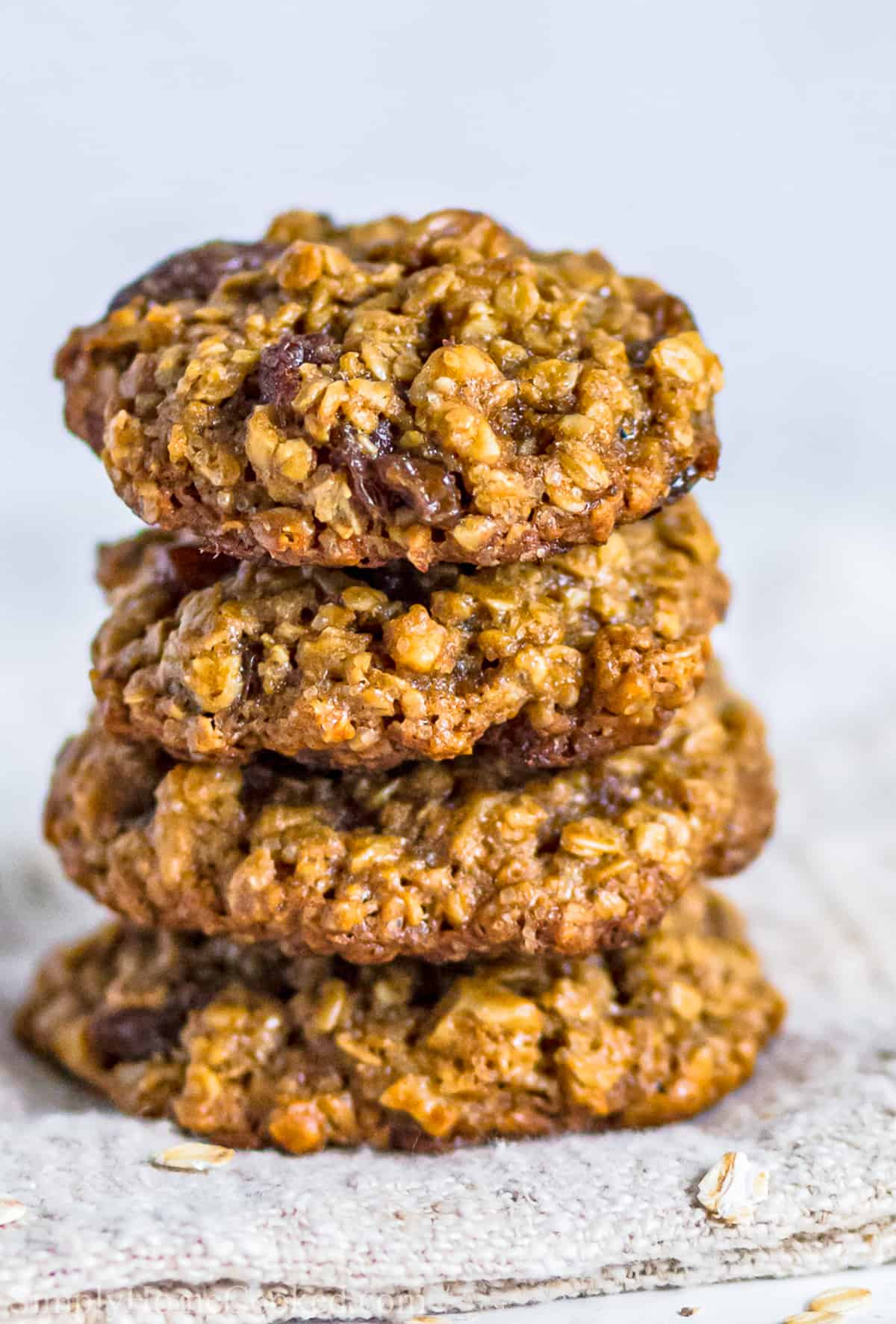 Stack of Chewy Oatmeal Raisin Cookies