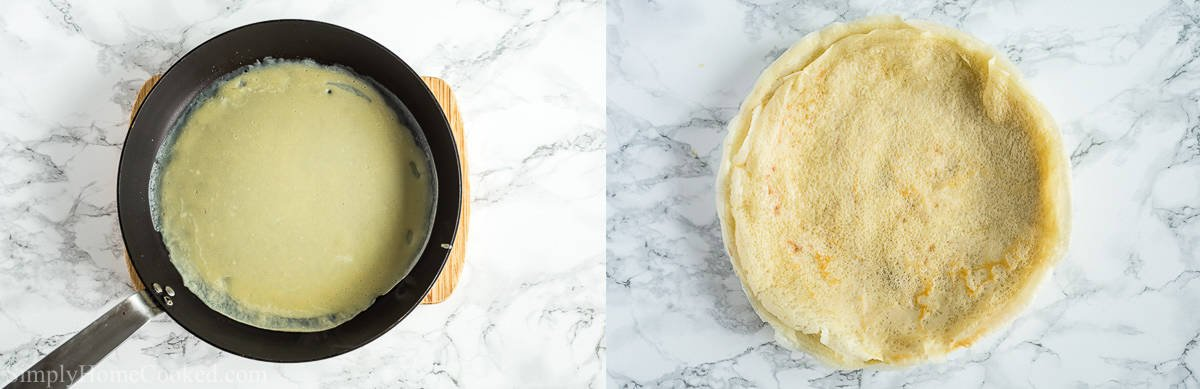 Steps to make Savory Crepes with Chicken and Mushroom Filling, including melting butter in a skillet and pouring the crepe batter in it and then flipping to cook both sides a golden brown.