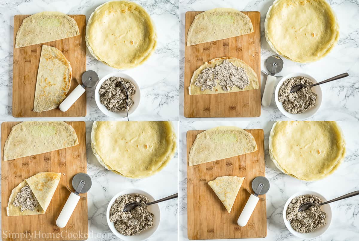 Steps to make Savory Crepes with Chicken and Mushroom Filling, including cutting the crepes with a pizza wheel, spooning the filling into the half, then folding it into thirds, with a bowl of chicken and mushroom filling and extra crepes to the side.