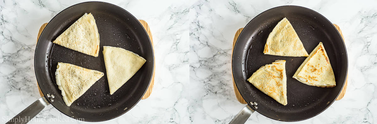 Steps for making Savory Crepes with Chicken and Mushroom Filling, including cooking the filled crepes in a buttered skillet to golden brown.