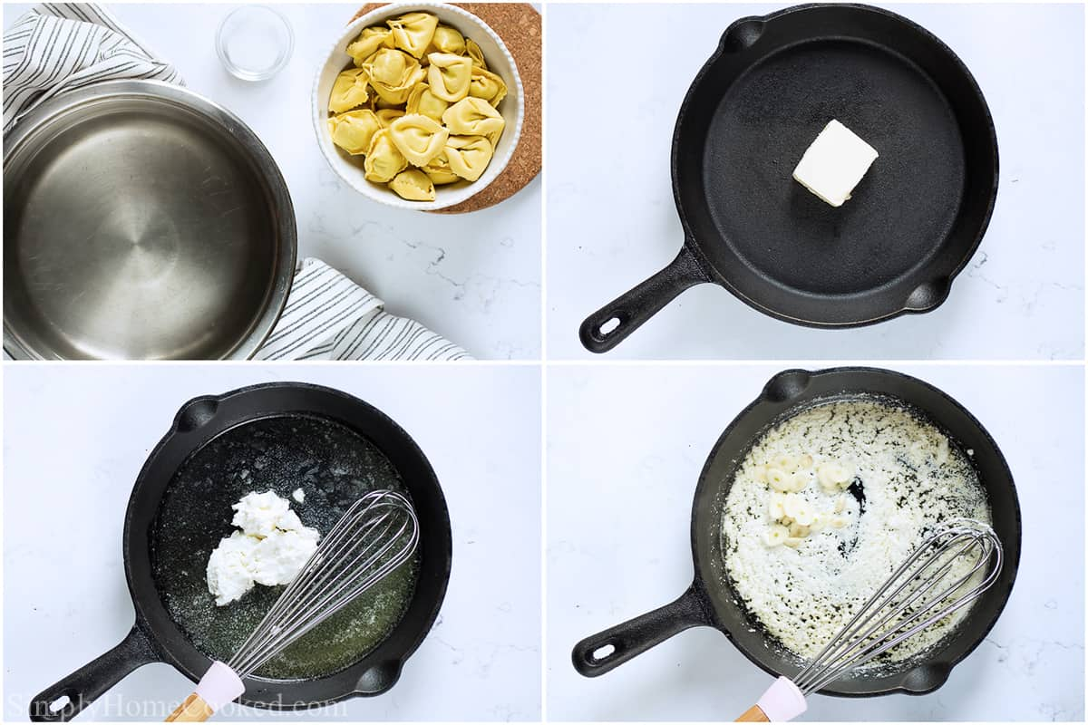 Steps to make Creamy Tortellini Alfredo, including boiling the pasta, melting the butter in a pan, adding the cream cheese and whisking, and then the garlic and Parmesan.