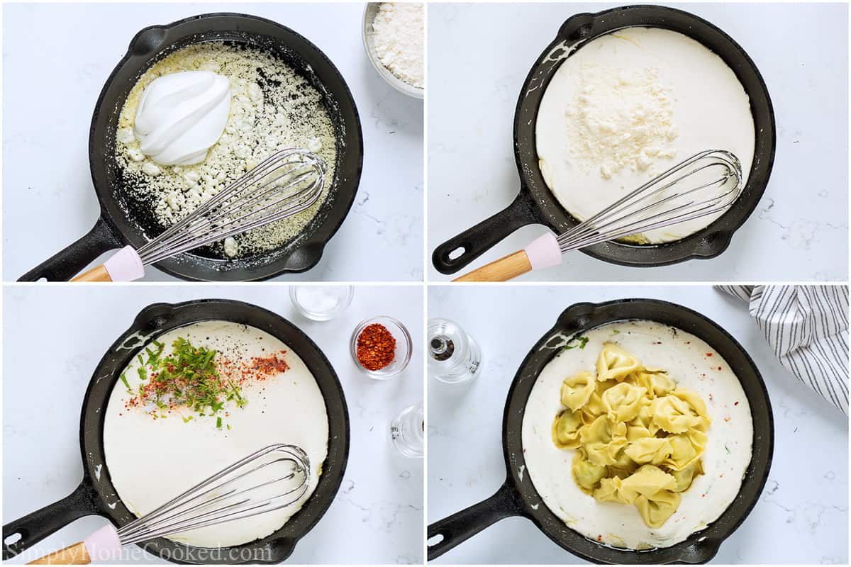 Steps to make Creamy Tortellini Alfredo, including whisking in the cream cheese and heavy cream, then adding Parmesan and the seasonings, and finally the tortellini.