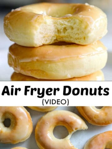 close up image of air fryer donuts with a bite taken out